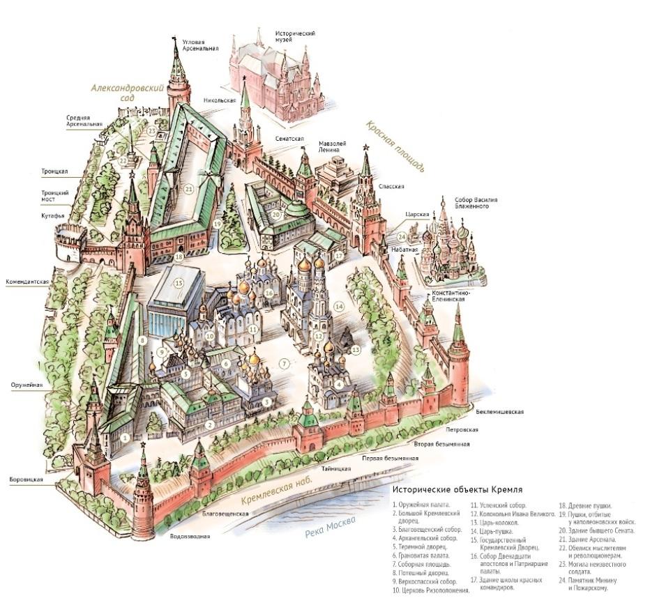 Схема кремля и красной площади с названиями фото 16